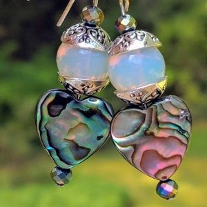 Handmade earrings with Abalone hearts. Moonstone